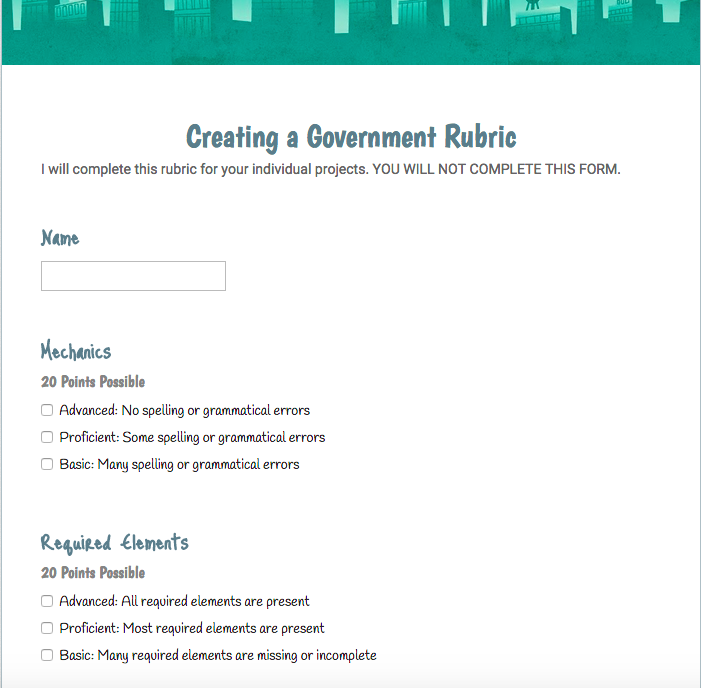 Creating Rubrics with Google Forms