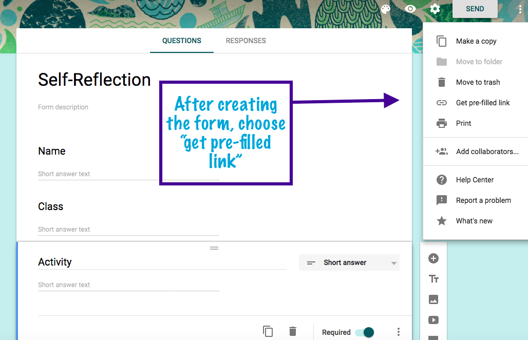Google Forms: Pre-fill a Form for your Students