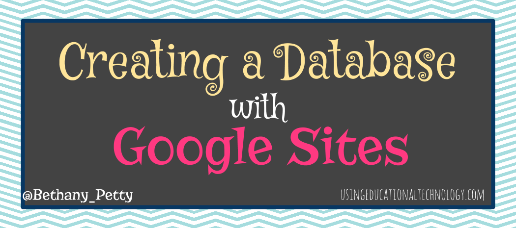 Creating a Database with Google Sites